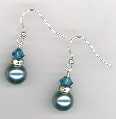 Blue Zircon Crystal Pearl Silver Earrings