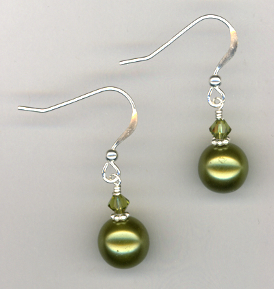 Olive Green Swarovski Crystal Pearl Sterling Earrings