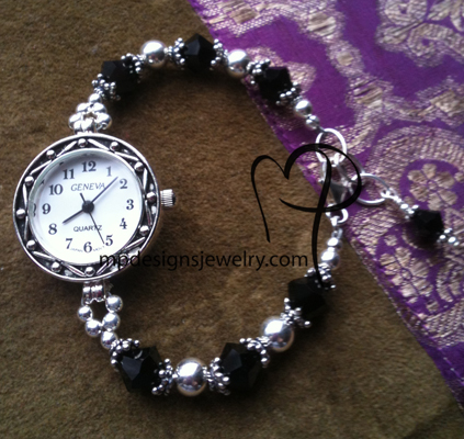Sterling Silver Jet Black Sparkle ~ Beaded Watch