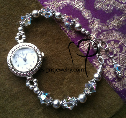 Sterling Silver Crystal Sparkle ~ Beaded Watch