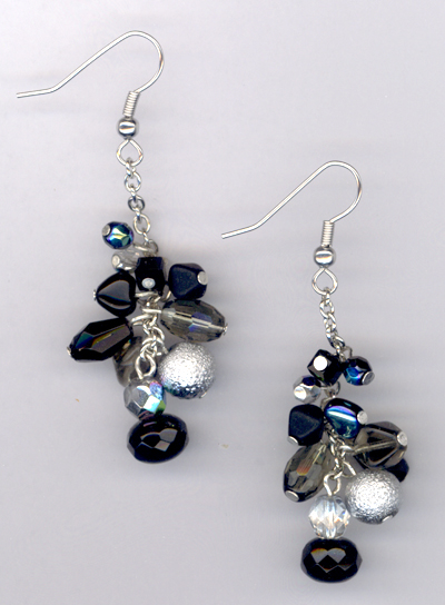 jet balck and beautiful crystal pearl cascade earrings