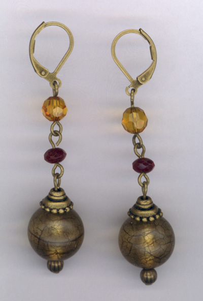 Maid Marion ~ Antiqued Gold Crystal Earrings