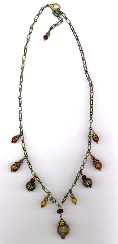 Maid Marion ~ Antiqued Gold Crystal Necklace
