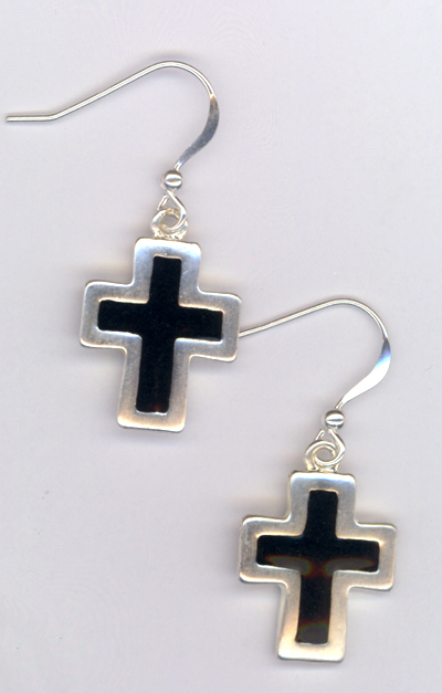 Sterling Black Cross Earrings