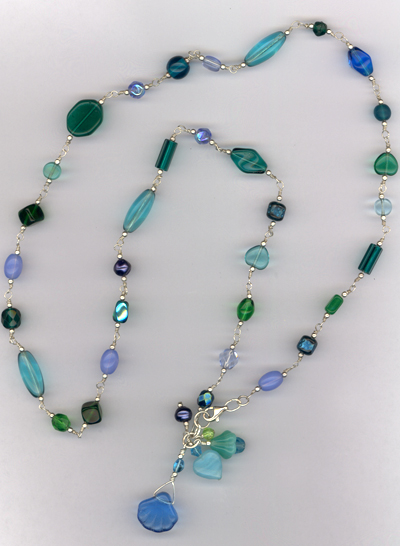 Ocean Blues ~ Beaded Sterling Silver Necklace