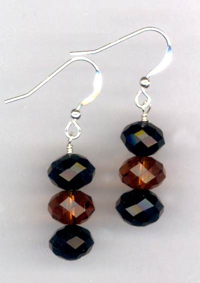 Cappuccino ~ Crystal Stacked Earrings