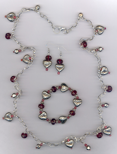 Charmed Your Heart ~ Silver Heart Fuchsia Crystal Jewelry Set