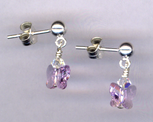 Fly, Fly Away ~ Lavender Crystal Butterfly Sterling Post Earrings