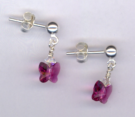 Fly, Fly Away ~ Fuchsia Crystal Butterfly Sterling Post Earrings