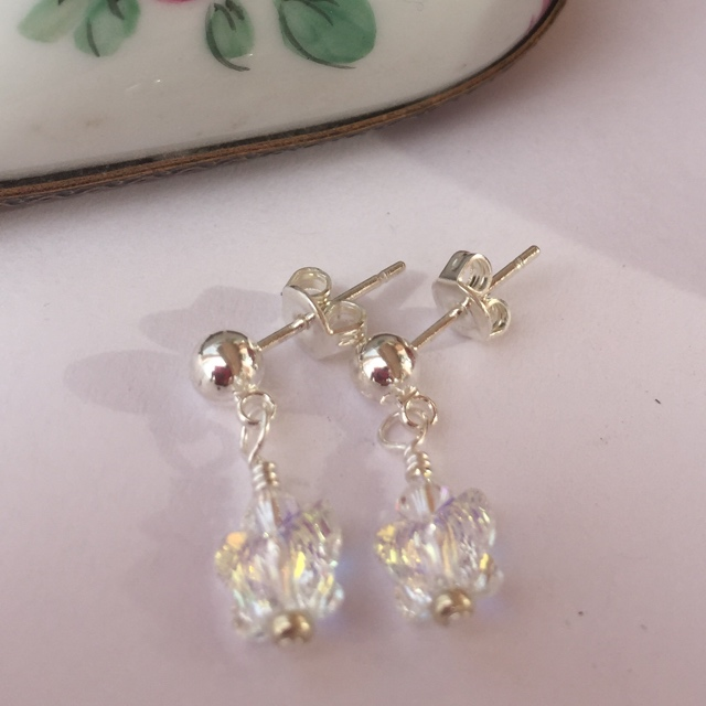 Crystal an butterfly post earrings