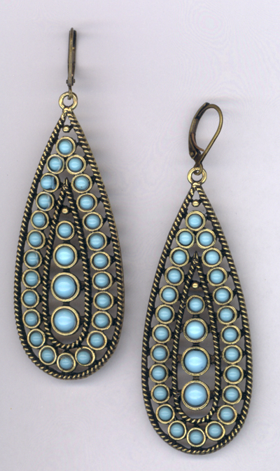 Desert Rain ~ Turquoise Blue Antiqued Gold Earrings