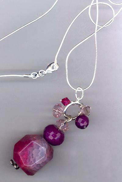 Betty ~ Pink Agate Purple Jade Crystal Charm Sterling Necklace