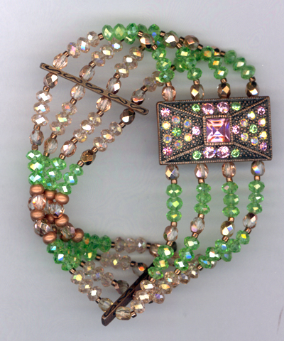 Opera Night ~ Copper Pink Green Crystal Stretch Cuff Bracelet