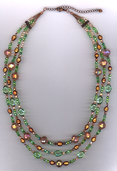 Opera Night ~ Copper Pink Green Crystal Layered Necklace