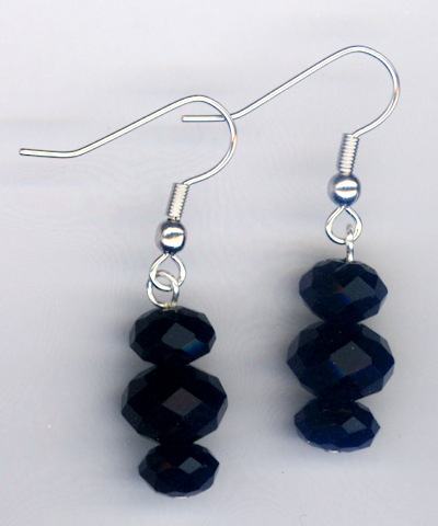 Triple Stack Black Crystal Earrings