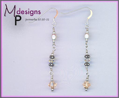 Pearl Silk Swarovski Crystal earrings