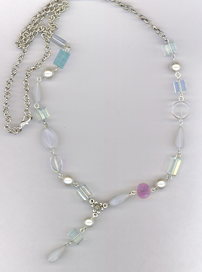 Whimsy White ~ Glass Pearl Link Necklace