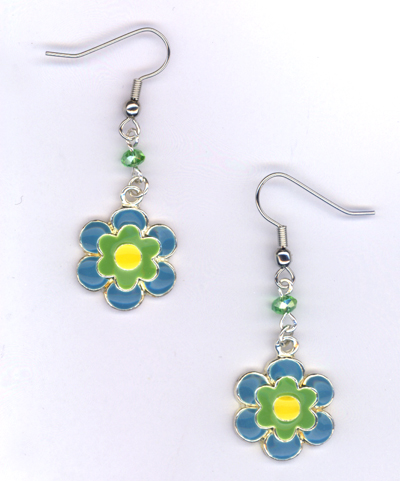 Don't Eat The Daisies ~ Blue/Green/Yellow Earrings