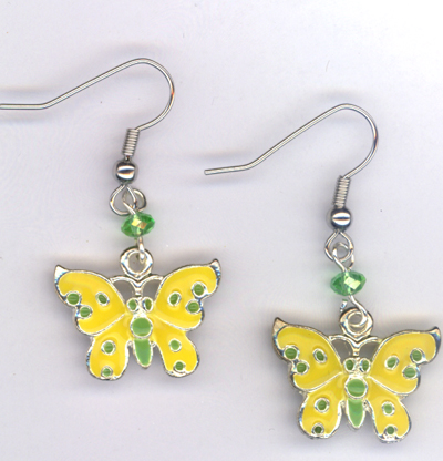 Butterfly Kisses ~ Enamel Charm Crystal Earrings
