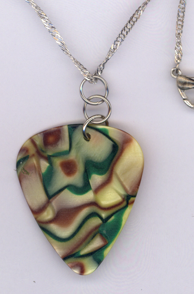 Caramel Apple Guitar Pick ~ Silver Chain Necklace