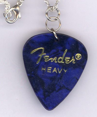 Blue Fender Pearl Guitar Pick ~ Silver Chain Necklace