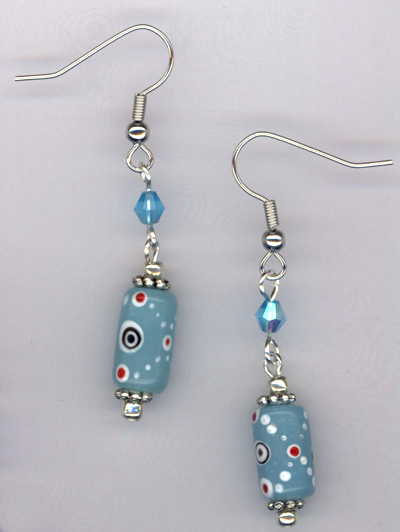 Whimsy Girl Aqua Blue ~ Chunky Beaded Earrings