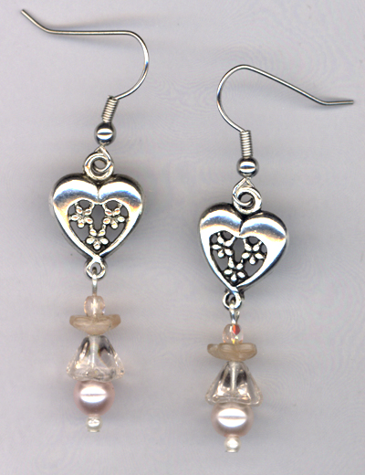 Whimsy Girl Pastel Pink ~ Pearl Heart Earrings
