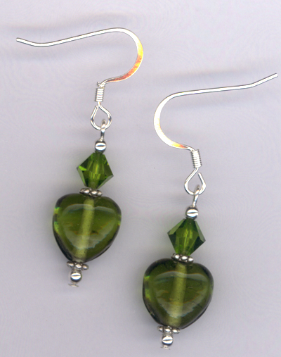 Whimsy Heart Green ~ Swarovski Crystal Lampwork Earrings