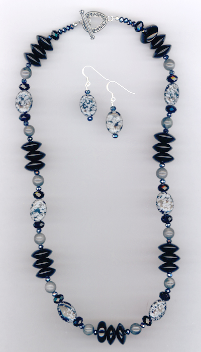 Jet Gemstone Crystal Necklace/Earrings Jewelry Set