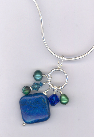 Emerald Isle Voyage ~ Gemstone Crystal Pearl Charm Necklace