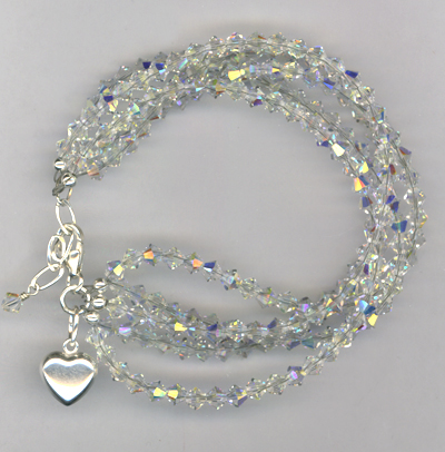 Raindrop ~ Swarovski Crystal Layered Heart Charm Bracelet