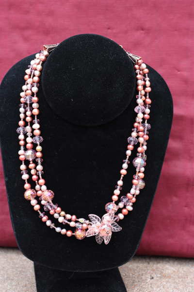 Peony Pink ~ Triple Layered Pearl Crystal Copper full view