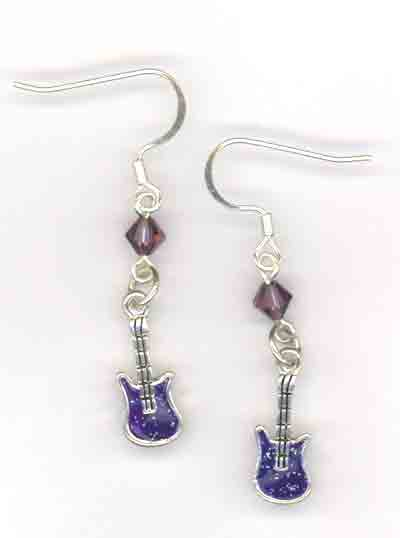 Purple Guitar Rocker Babe ~ Crystal Charm Earrings