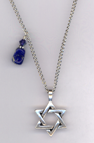 Star of David Pewter Lapis Crystal Necklace