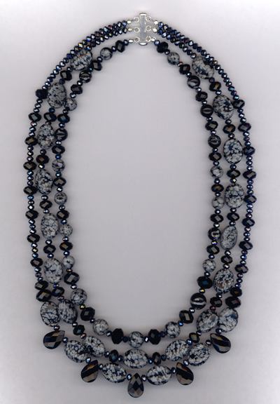 Obsidian Gemstone Crystal Triple Layered Necklace