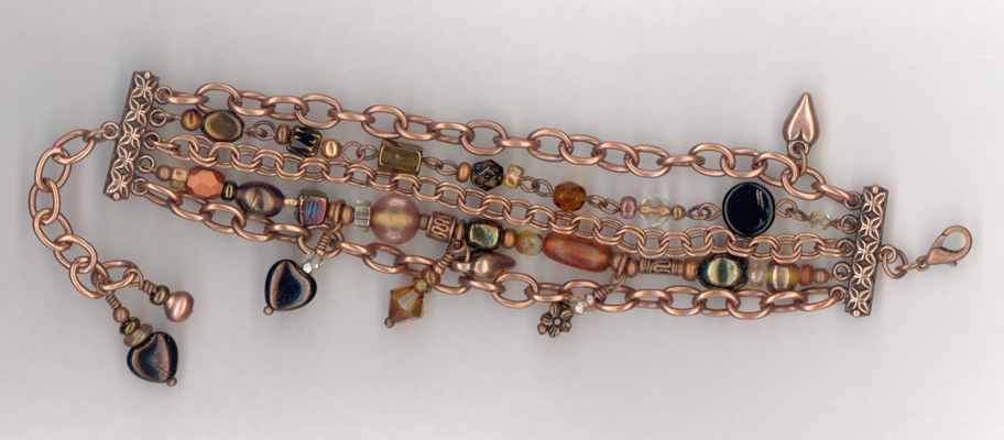 Makes Me Happy ~ Copper Chain Charm Beaded Bracelet