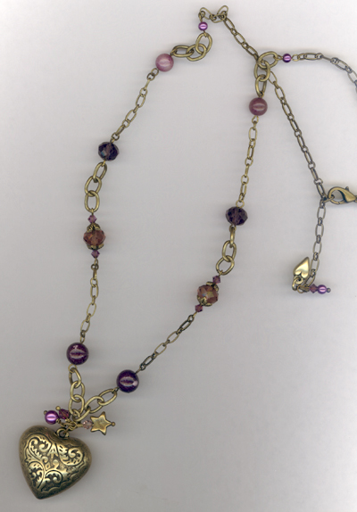Golden Heart ~ Gemstone Crystal Charm Necklace