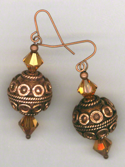 Cleopatra ~ Copper Swarovski Crystal Earrings