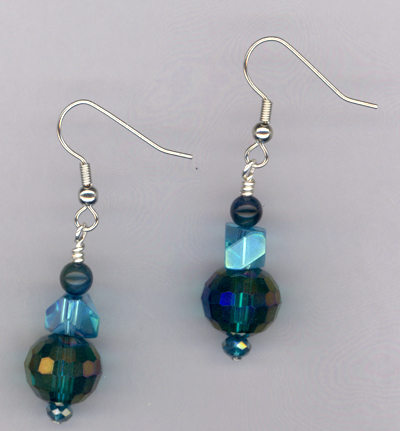 Caribbean Blue ~ Crystal Pearl Earrings