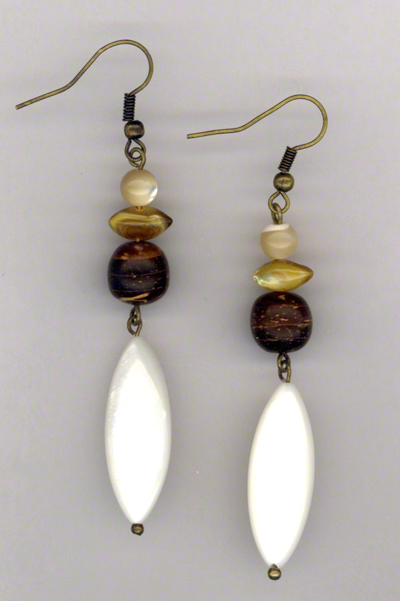 Sand & Shells ~ Pearl Wood Antiqued Gold Earrings