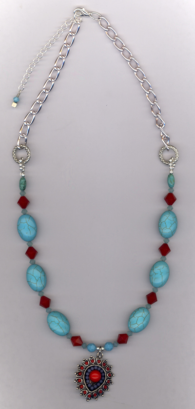 Desert Southwest ~ Turquoise Blue Red Necklace