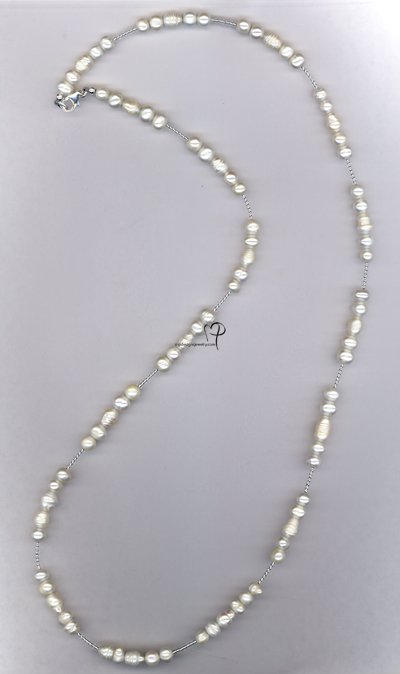 Lovely ~ Bridal White Long Pearl Sterling Silver Necklace