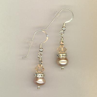 Creamy Rose Freshwater Pearl Silk Crystal Earrings