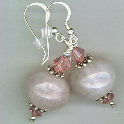 Rose Quartz Rose Crystal earrings