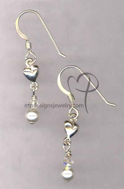 Jr. Bridesmaid Pearl Heart Sterling Silver Earrings