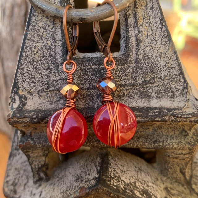 Berry Jade  Crystal Copper  Wrapped Earrings