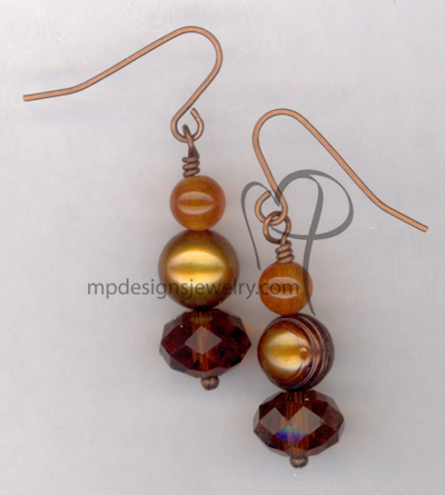 Butterscotch Copper Pearl Crystal Earrings