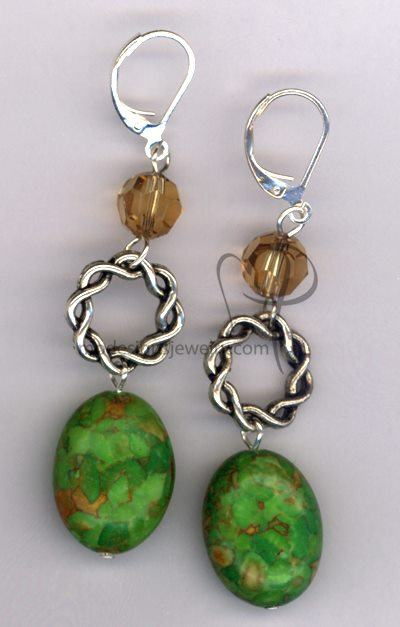Autumn Splendor ~ Mosaic Turquoise Swarovski Crystal Silver Plated Earrings