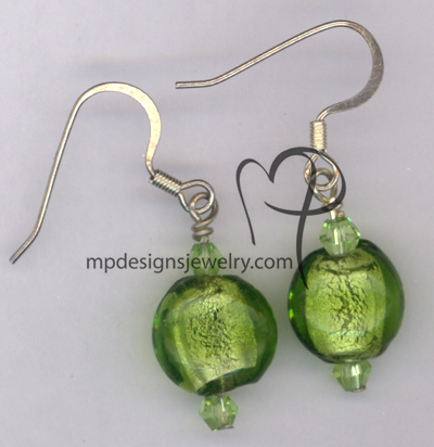 Cool Breeze Green Lampwork Crystal Earrings
