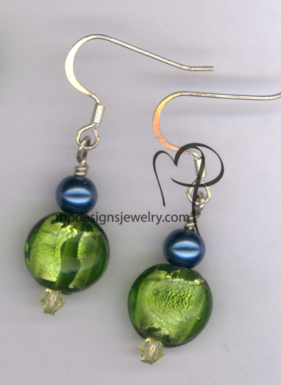 Cool Breeze Green Lampwork Pearl Crystal Earrings